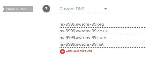 Namecheap's Custom DNS settings.