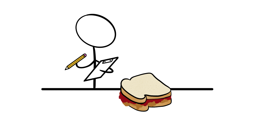 Reviewing a peanut butter and jelly sandwich with a clipboard