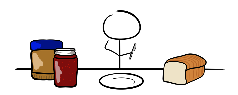 The components of a peanut butter and jelly sandwich