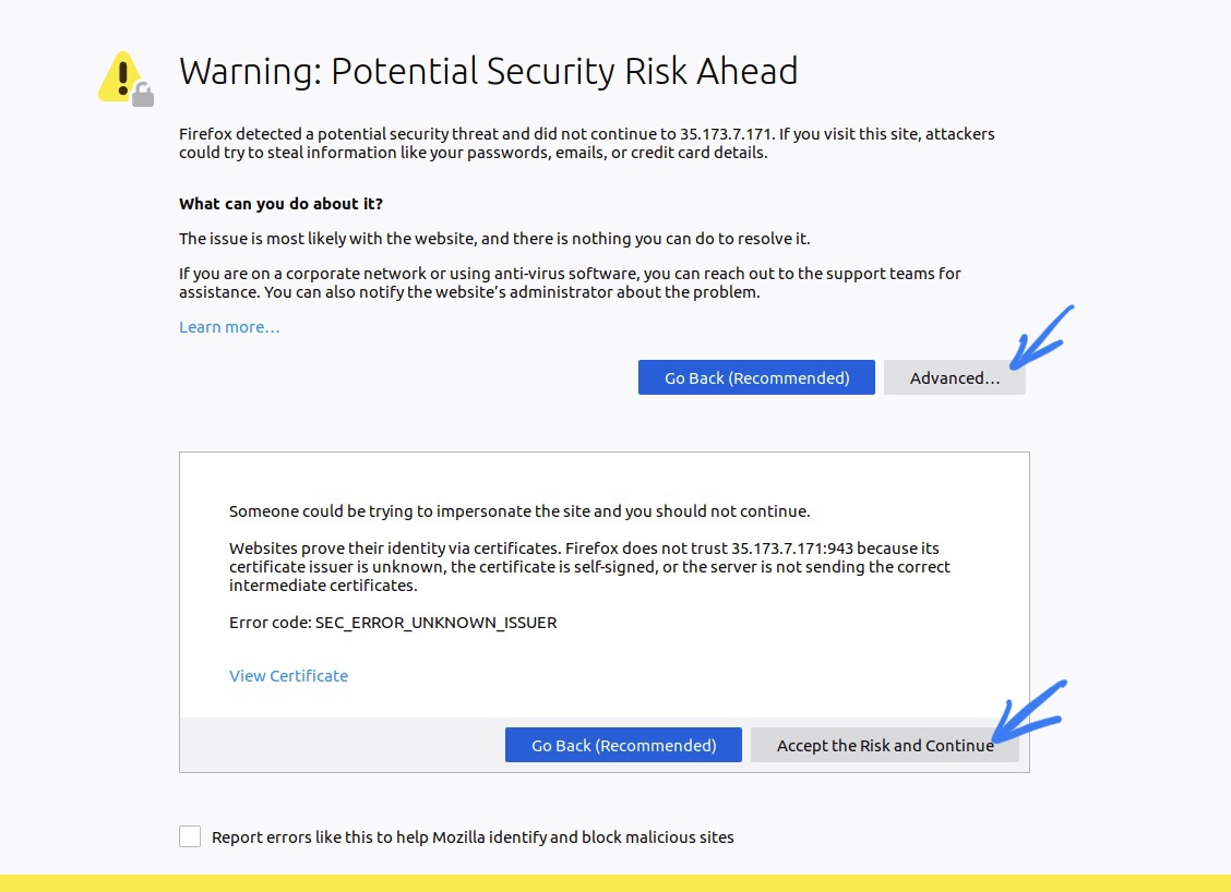 Security warning page