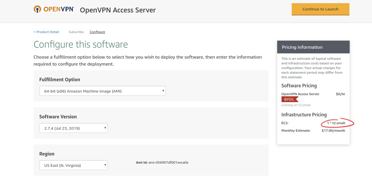 Configure this software page for OpenVPN Access Server