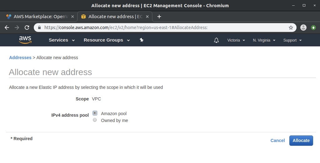 Allocate new address page