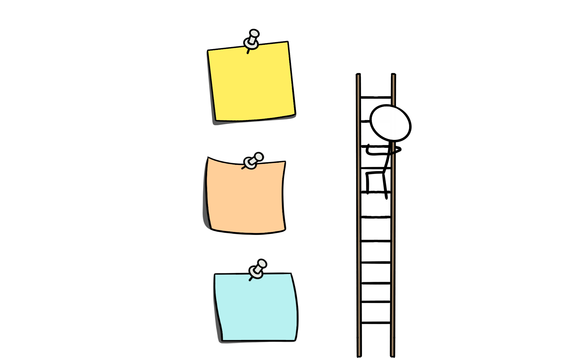 A cartoon of a stick figure climbing a ladder to reach a post-it note